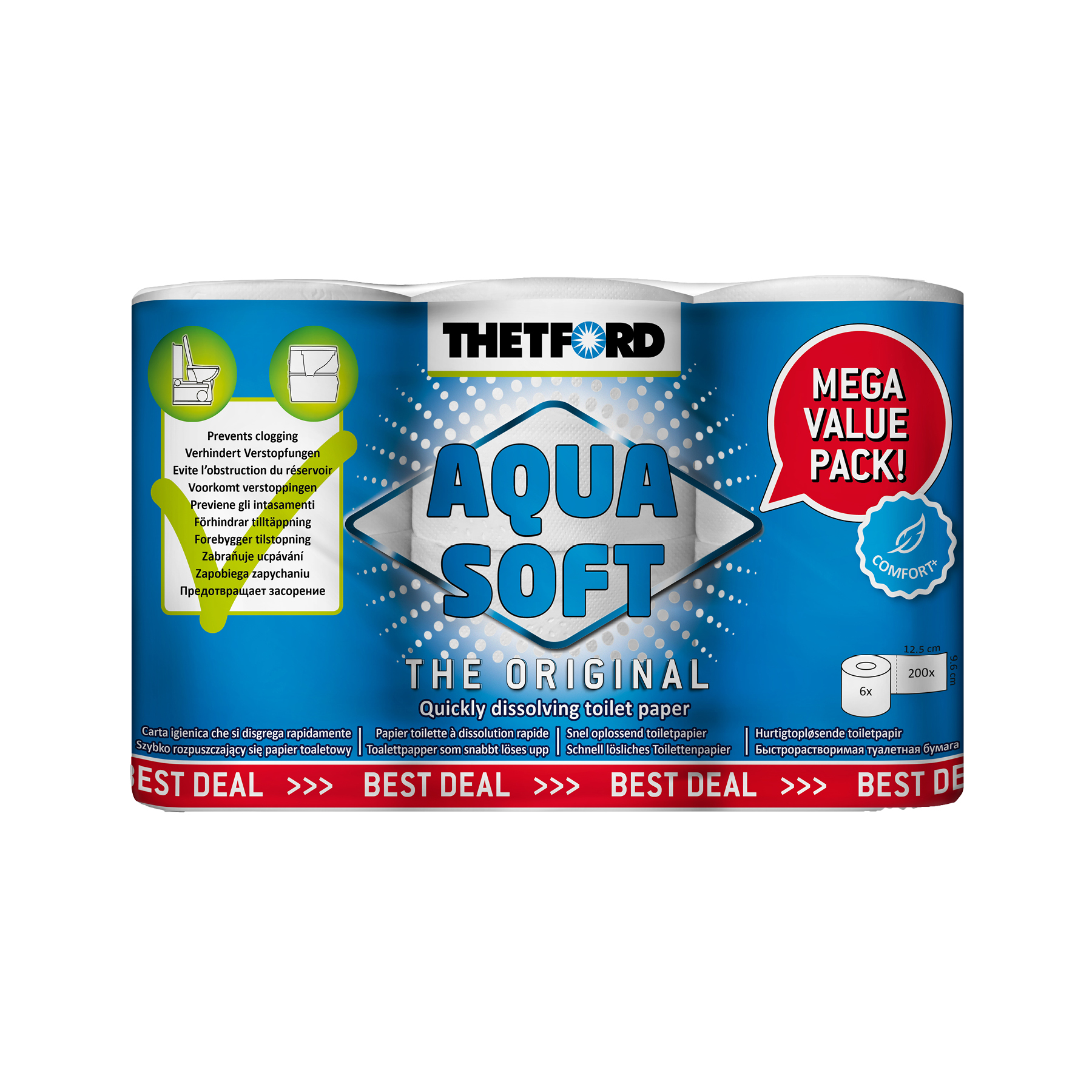 AQUA SOFT TOILET PAPER – 6 PACK